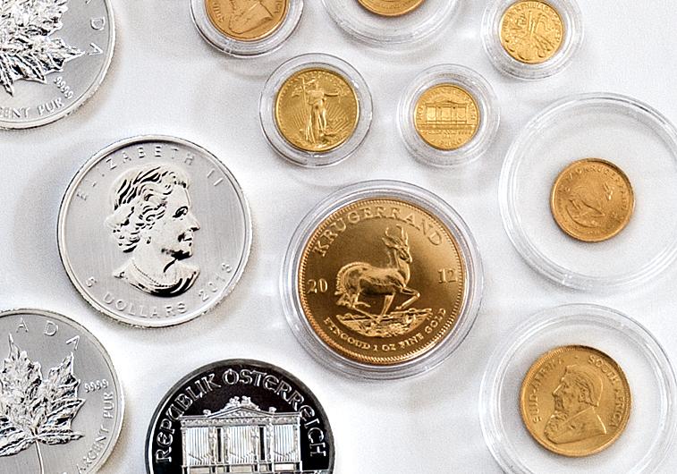 Gold- und Silbermünzen Krügerrand, Maple Leaf, Wiener Philharmoniker, American Eagle