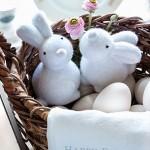Shabby Osternest mit Ostereiern weisse Osterhasen