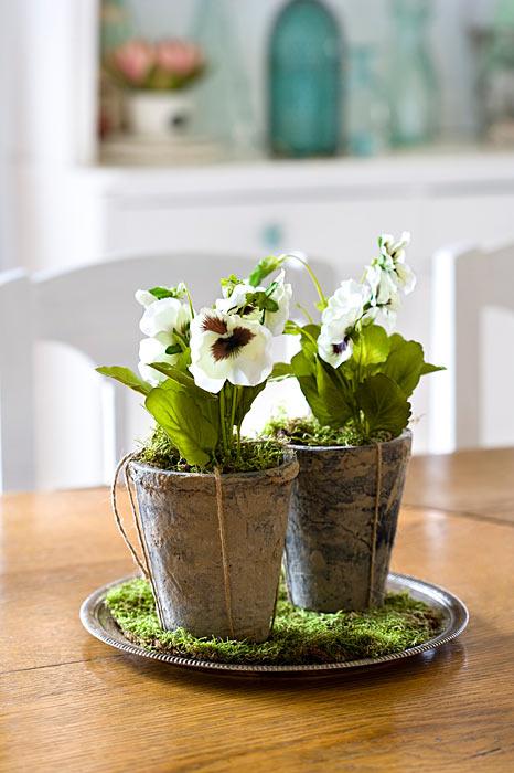 Stiefmütterchen Frühlingsdeko in Tontöpfen Künstliche Blumen