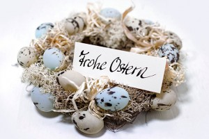 Oster Eier Kranz Schild Frohe Ostern Grusskarte