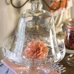 Rose unter Glasglocke Shabby chic Landhaus Deko Vintage Glas Cloche