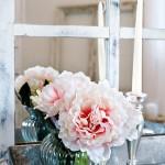 Landhaus-Blumenstrauss-Muttertags Gruss Shabby Chic Zinktablett