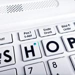 Weisse mit Einkaufswagen Taste Shop-Tasten Schrift