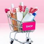 Rosa Einkaufswagen mit Geldscheinen Schmetterlinge Shop