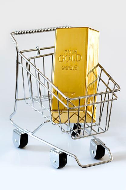 Goldbarren kaufen Einkaufswagen Shopping-Cart