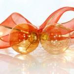 Glas Weihnachtskugeln mit Schleife