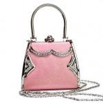 Rosa Handtasche Glamour Abendtasche Bügeltasche Straß