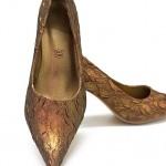 Goldene Schuhe Brokat bronzen metallic Pumps High Heels