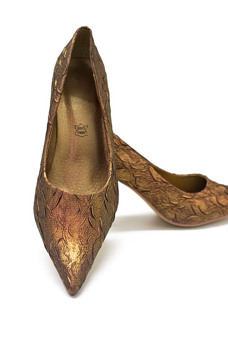 Goldene Schuhe Brokat bronzen metallic Pumps High Heels