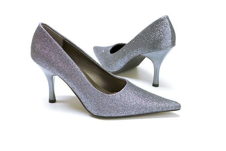D1G3472 Glamour silberne Pumps Hochzeits-Schuhe
