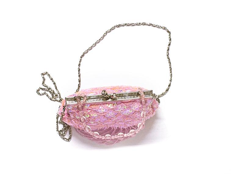 Rosa Pailletten-Tasche von oben Strass