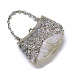 Silberne Pailletten-Tasche Abendtasche Perlen