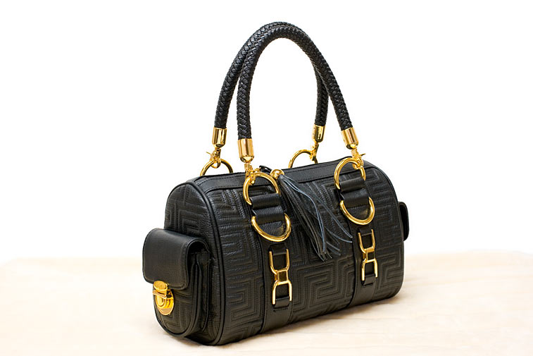Schwarz goldene Henkeltasche Handtasche
