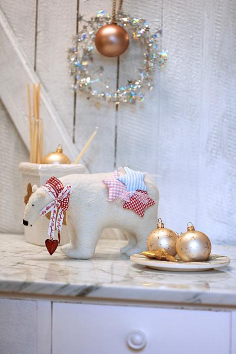 Weihnachten Eisbär Handarbeit Weihnachtskugeln Herzen Sterne