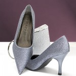Silber-Metallic Pumps Glitter Glimmer Glamour High-Heels
