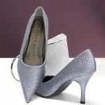Silber-Metallic Pumps Glitter Glimmer Glamour High-Heels