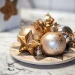 Weihnachtskugeln Landhaus Weihnachtdeko-Teller Sterne gold