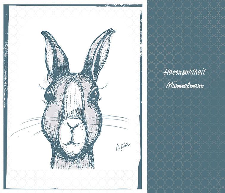 Hasenportrait Zeichnung Osterhase