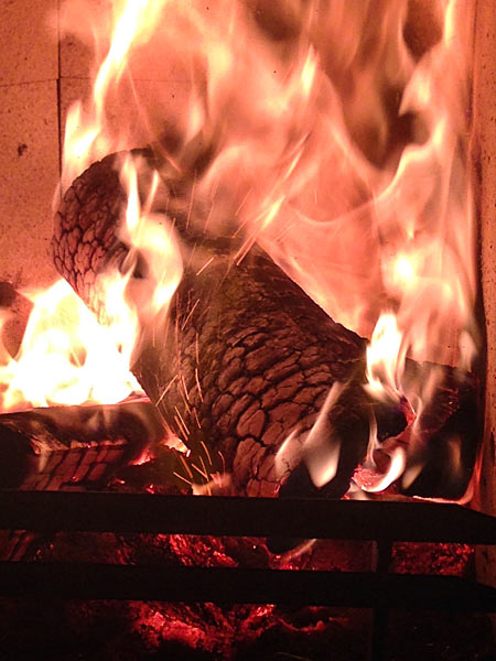 Holzscheit Kaminfeuer