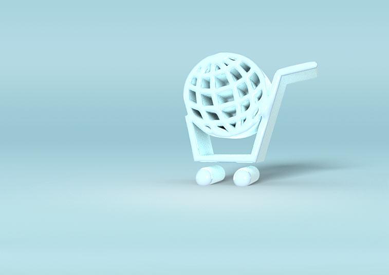 Einkaufswagen Weltkugel