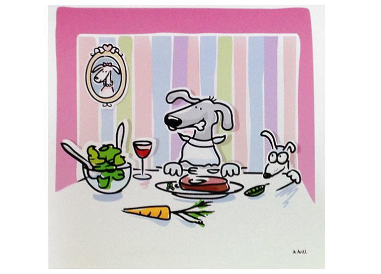 Hunde am Tisch Bio Futter Fleisch essen Illustration Comic Zeichnung