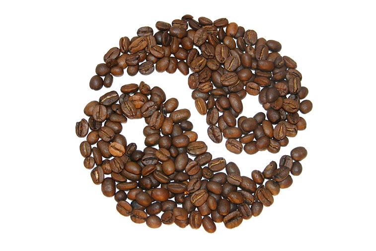 Kaffeebohnen Yin Yang