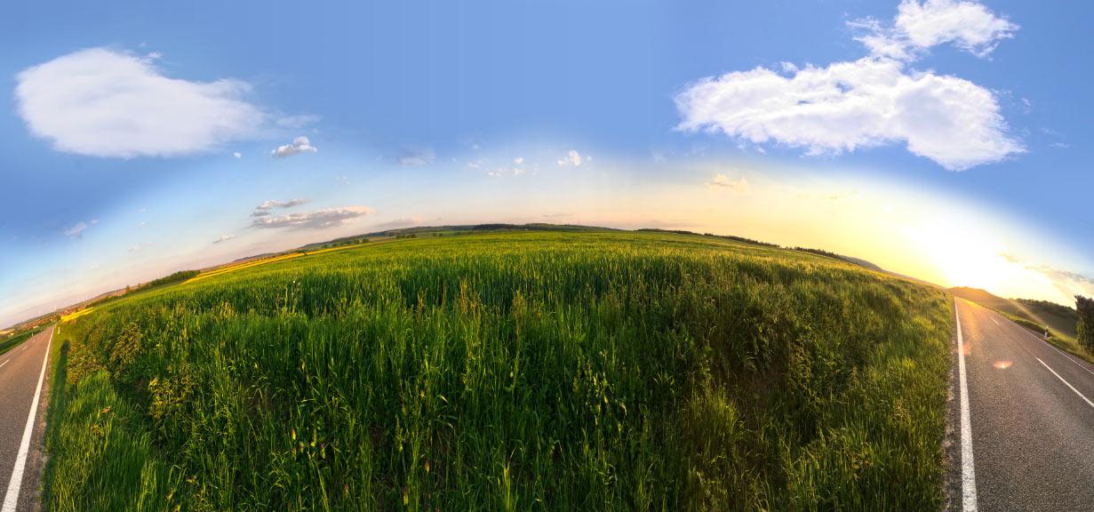 Felder Wiesen Himmel Panorama
