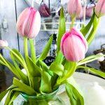 Frühlings-Blumen-rosa-Tulpen-in-Vase-Shabby-Lenz