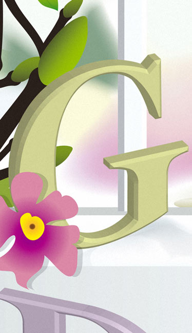 Gartensaison Buchstabe G Illustration