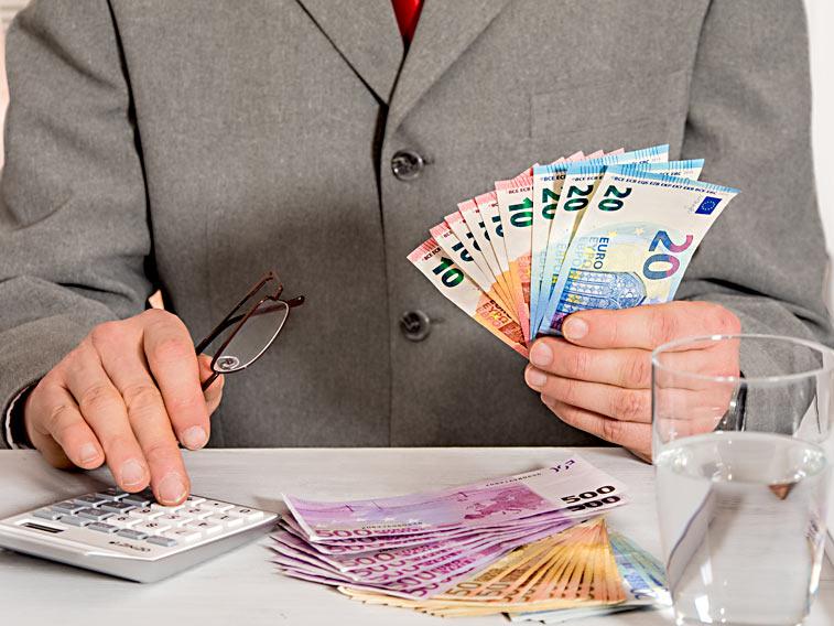 Manager Geldscheinfächer Taschenrechner