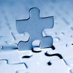 Blaues Puzzleteilchen