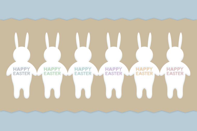 Ostern Osterhasen blau Osterhasenreihe Happy Easter