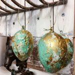 Ostereier färben - Marmorieren mit Nagellack mint gold