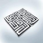 Labyrinth Irrgarten silbermetallic grau
