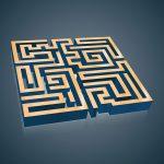 Labyrinth blau gold