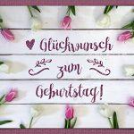 Tulpen Geburtstagsgruss Glückwunsch Blumen Shabby Holzwand