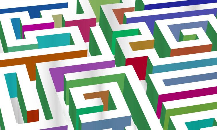 Labyrint 3D bunt