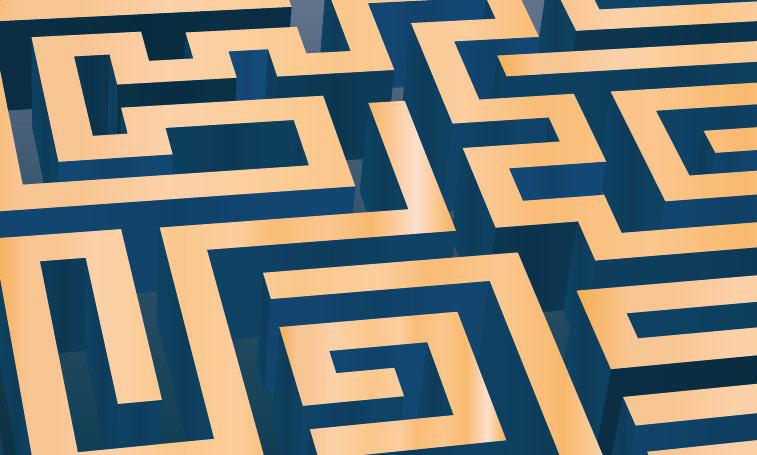Labyrinth 3D gold