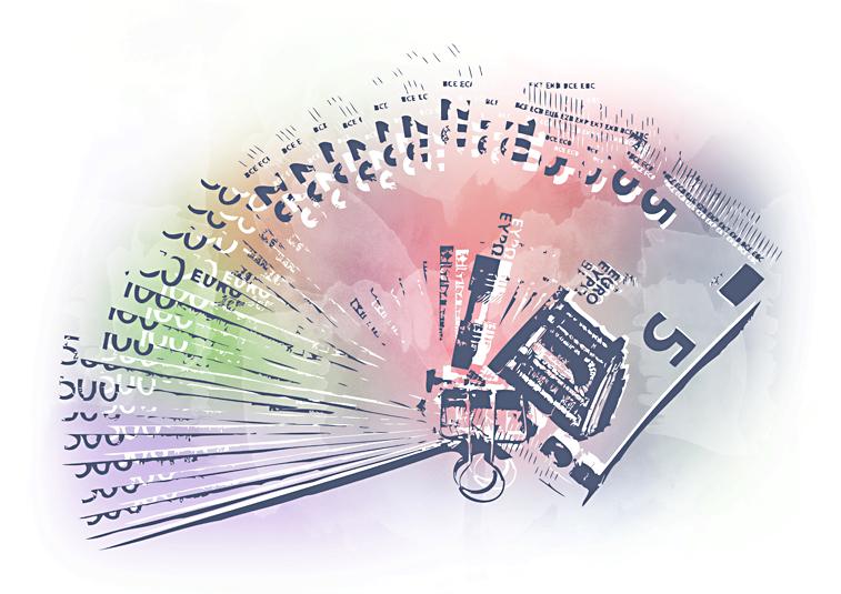 Die Farben des Geldes Euroscheine Geldscheinfächer Aquarell
