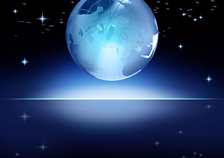 Leuchtende Weltkugel Horizont