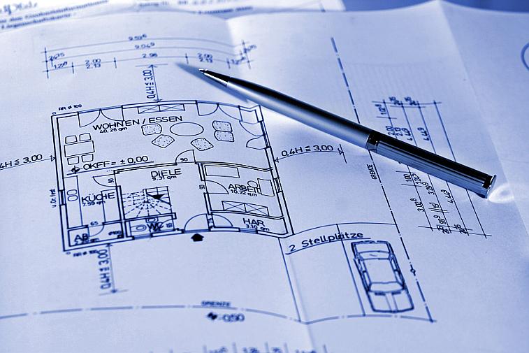 Bauplan Kugelschreiber Hausbau Planung