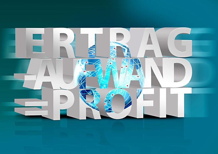 Ertrag Aufwand Profit Gewinn Weltkugel