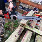Palettenholz sägen Elektrokettensäge