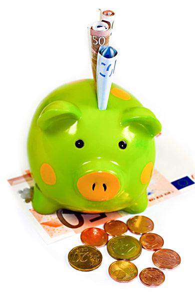 Sparschwein Geldscheine Euro-Münzen