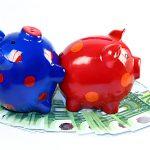 Sparschweine Familienplanung Geldscheine