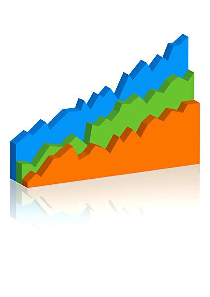 Börsenkurven bunt 3D
