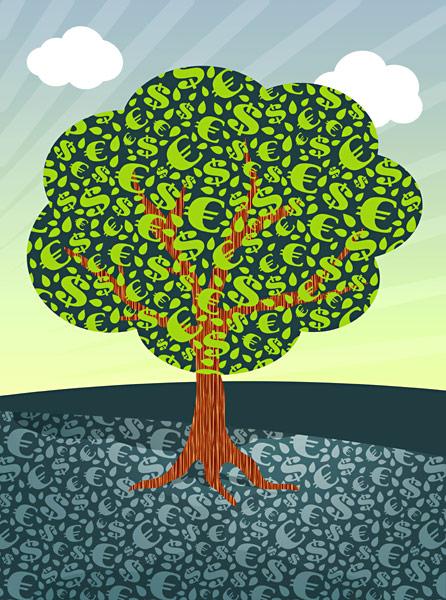 Euro Dollar Geld-Baum Das Geld wächst auf Bäumen und liegt auf der Strasse