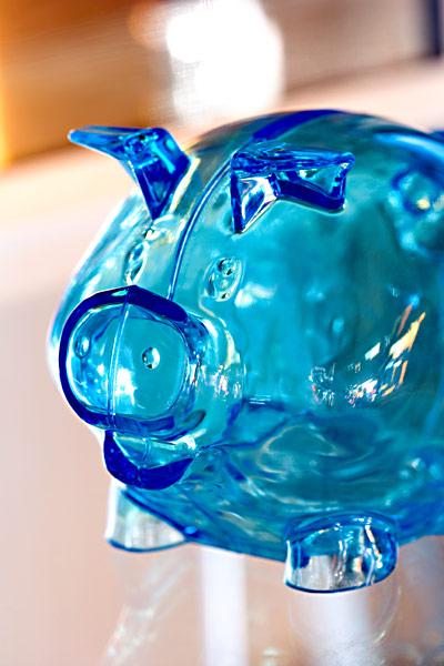Sparschwein blau transparent