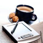 Kaffeetasse Zeitung Tablet PC