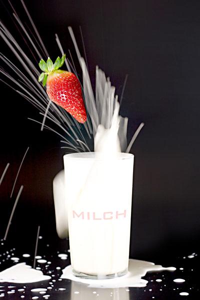 Milchshake Erdbeere Glas Milch